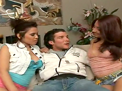 Two brunettes Go Hardcore With A Horny Man In A Wild Threesome