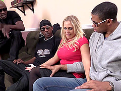 Pretty Blonde Pornstar With Big Tits Enjoying An Interracial Gangbang