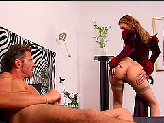 Ane Joy in nylon stockings sucking dick and getting banged
