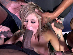 Babe coping up with big black cock hardcore in interracial group sex