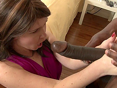 Salacious babe with a shaved pussy enjoying a hardcore interracial fuck