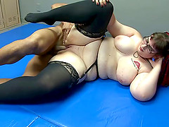 Amateur chubby slut rides a hard dong after fucking doggystyle