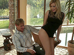 Blonde babe cock teasing a dude before he rams her