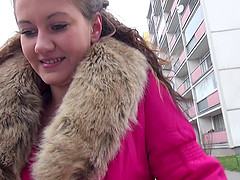 Slut in a fur trimmed coat offered cash to get fucked