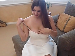 Irresistible white dress and heels on a dildo fucking girl