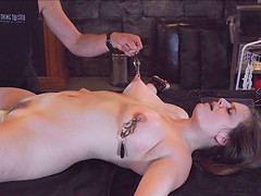 Kinky BDSM play in his dungeon with pain for her pussy lips