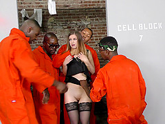 Bunch of horny black guys giving the white chick their huge cocks