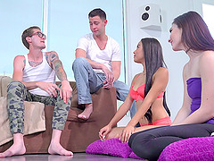 Maya and Jenna are doing some vigorous cock riding in a foursome