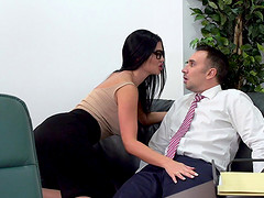 Jasmine Jae is a busty office worker in need of a cock
