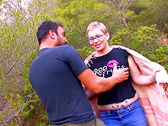 Chubby Steph Debar gets talked into riding a dick outdoors